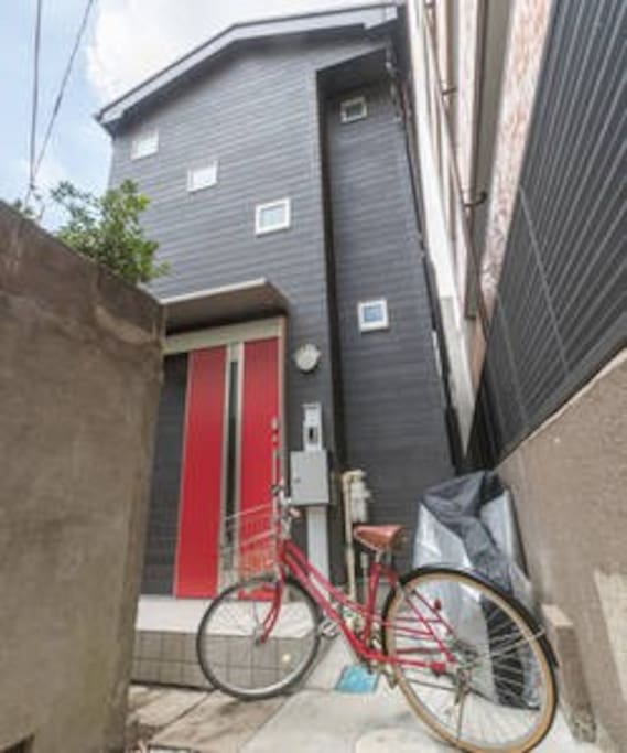 Chocolate brown house with bright red door is my place. You won't miss it;)