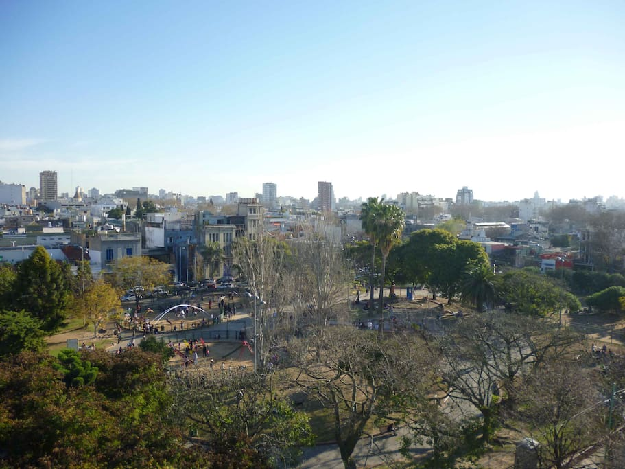 The view of Plaza Armenia from the apartment