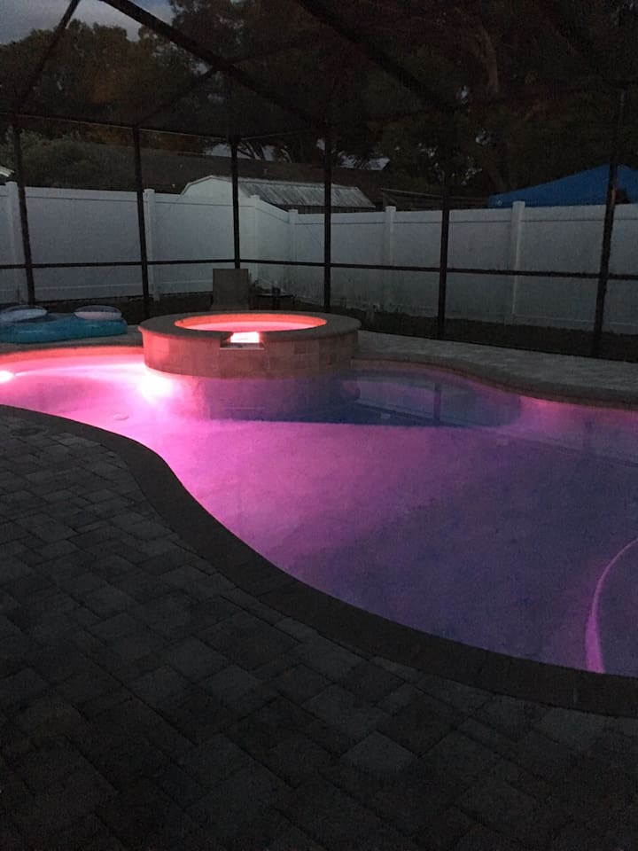 This is the pool at night it's an inviting relaxing pool