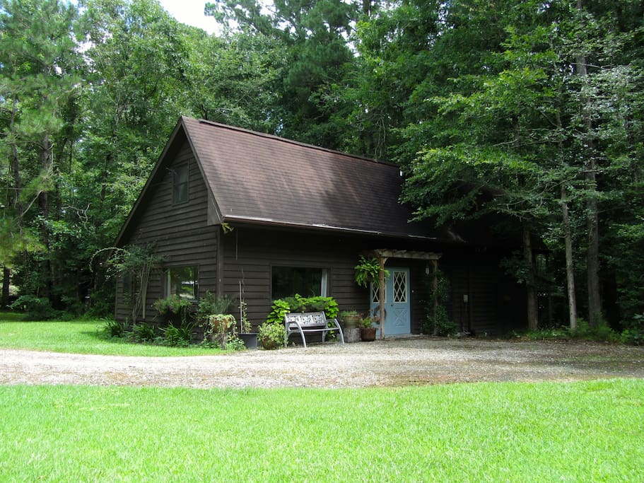 Kershaw Cottage is nestled in the woods where it's nice and quiet.