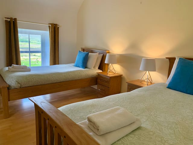 Can be arranged as a twin room with 2 single beds,  or triple with 3 single beds