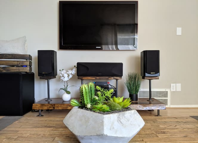HDTV with sound system and Nintendo Switch console