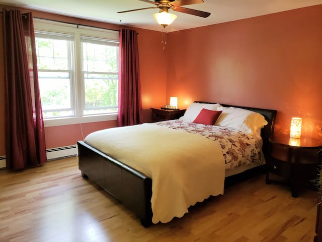Upstairs bedroom with queen sized Sealy pillow top mattress, AC is installed in the summer.