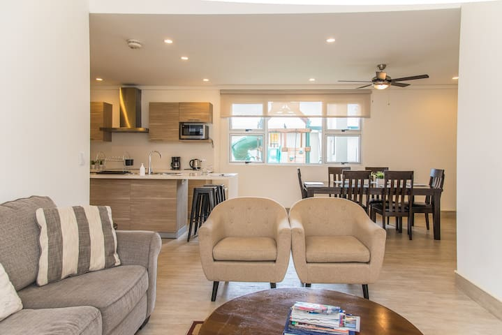 Open Kitchen and Social Areas (dining and living room)