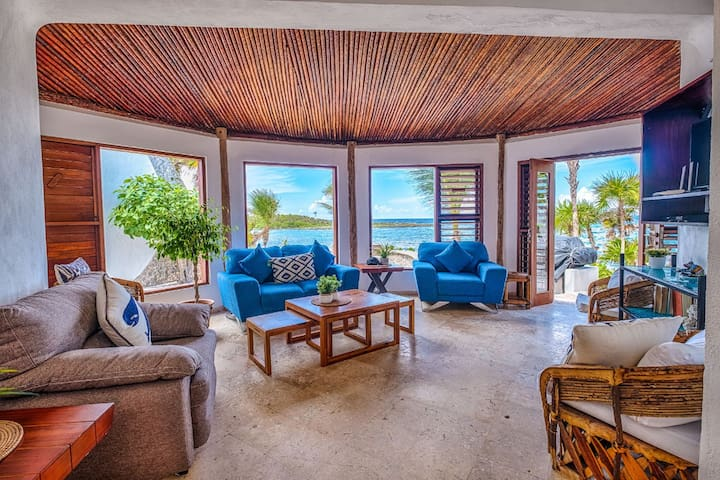 The living area facing the mouth of Yalku Lagoon and the Caribbean sea.