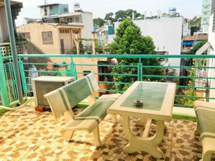 Terrace with stone sittings for relaxation