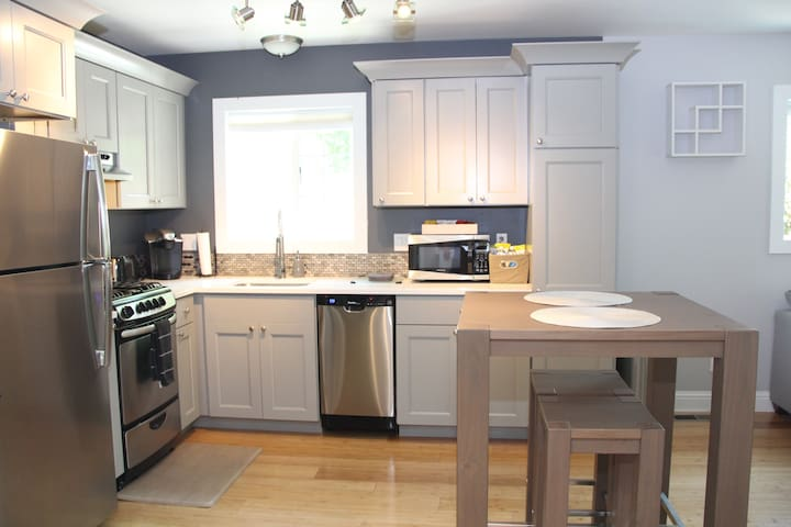 Kitchen with apartment appliances
