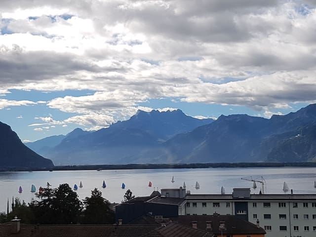 10 min walk to Montreux, beautiful view