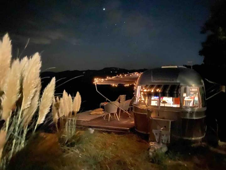 Glamping in Italy -  Airstream with stunning views