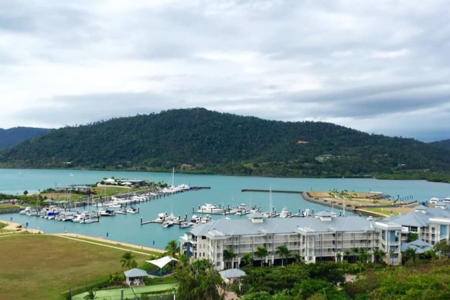 View to the Port of Airlie and Airlie Beach
