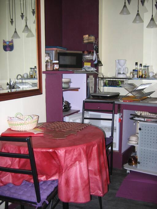 petite cuisine avec équipement de cuisine d'appoint