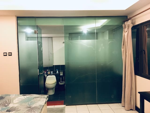 A special, private attached bathroom inside the room.