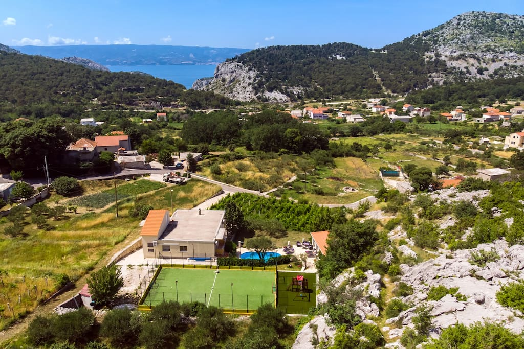 Aerial view of the beautiful villa position.