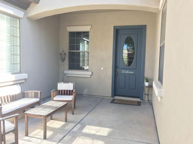 Front door, front patio