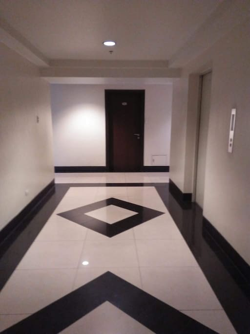 Hallway within the floor, elevators on the right