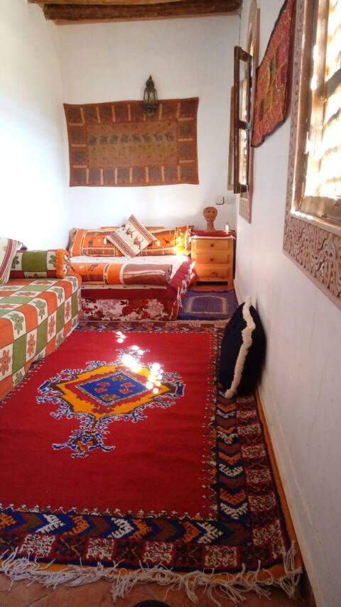 Chambre à bleue de la maison de palmeraie