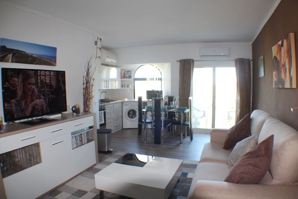 LARGE SMART TV AND DVD PLAYER