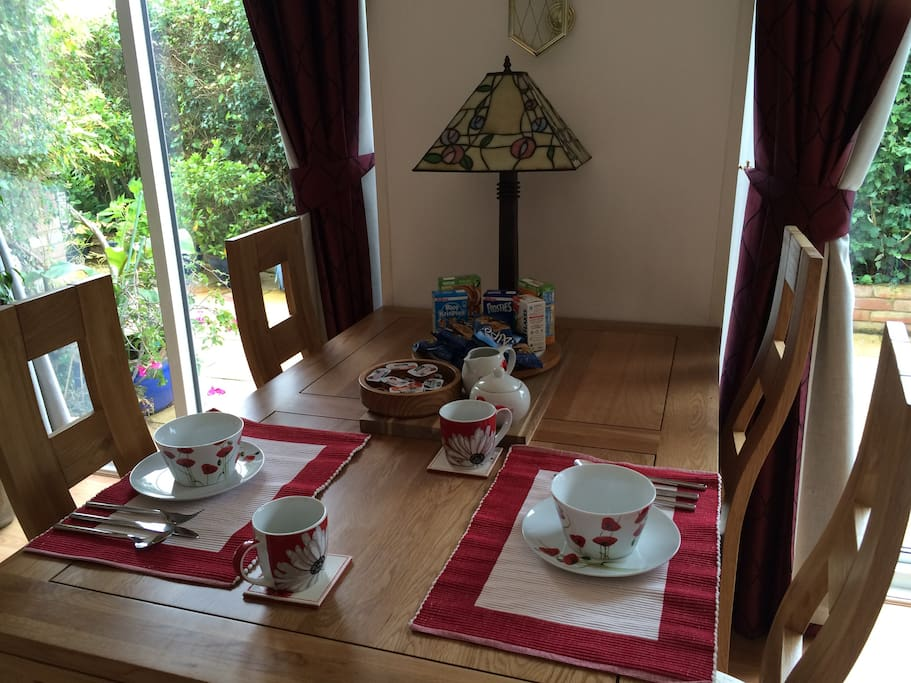The table laid for breakfast