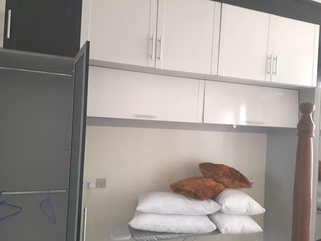 Closet. Extra pillows and beddings incase you feel cold