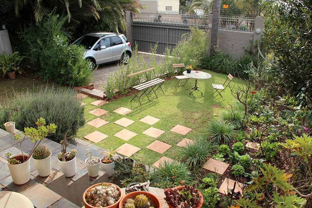 View on the garden and parking space for one car