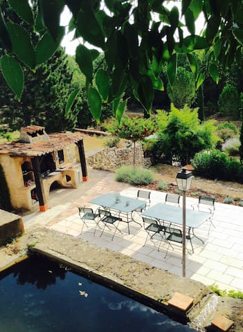 BBQ terrace and fish pond