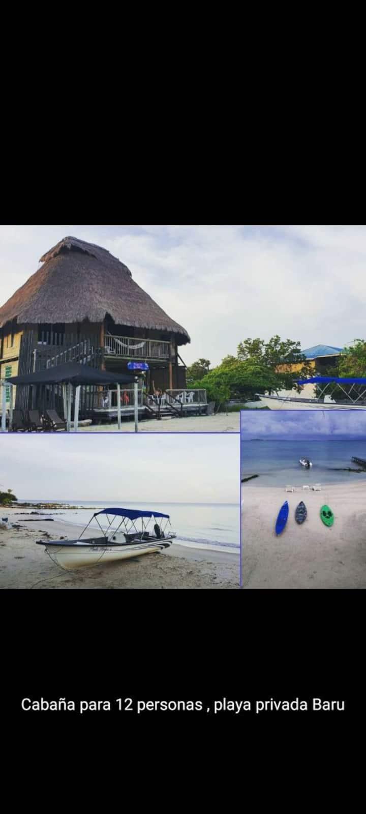 Cabaña con playa privada cartagena baru