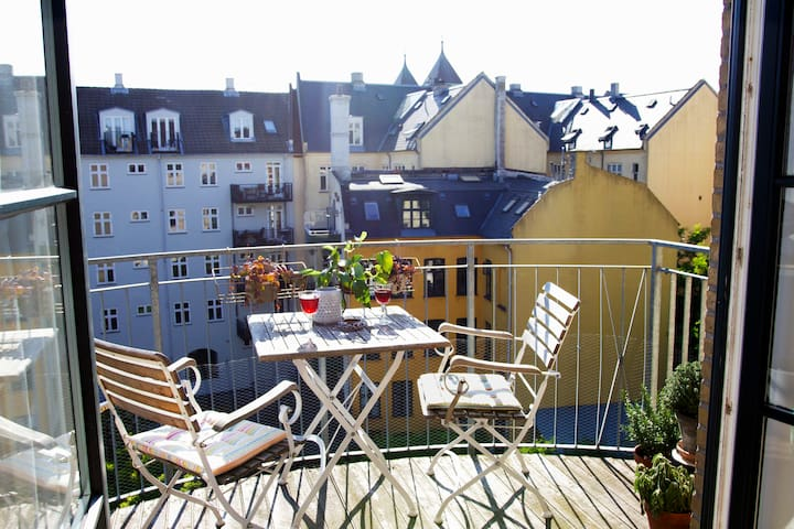 Our sunny balcony, where you can enjoy the sun until 10pm (in the summertime).