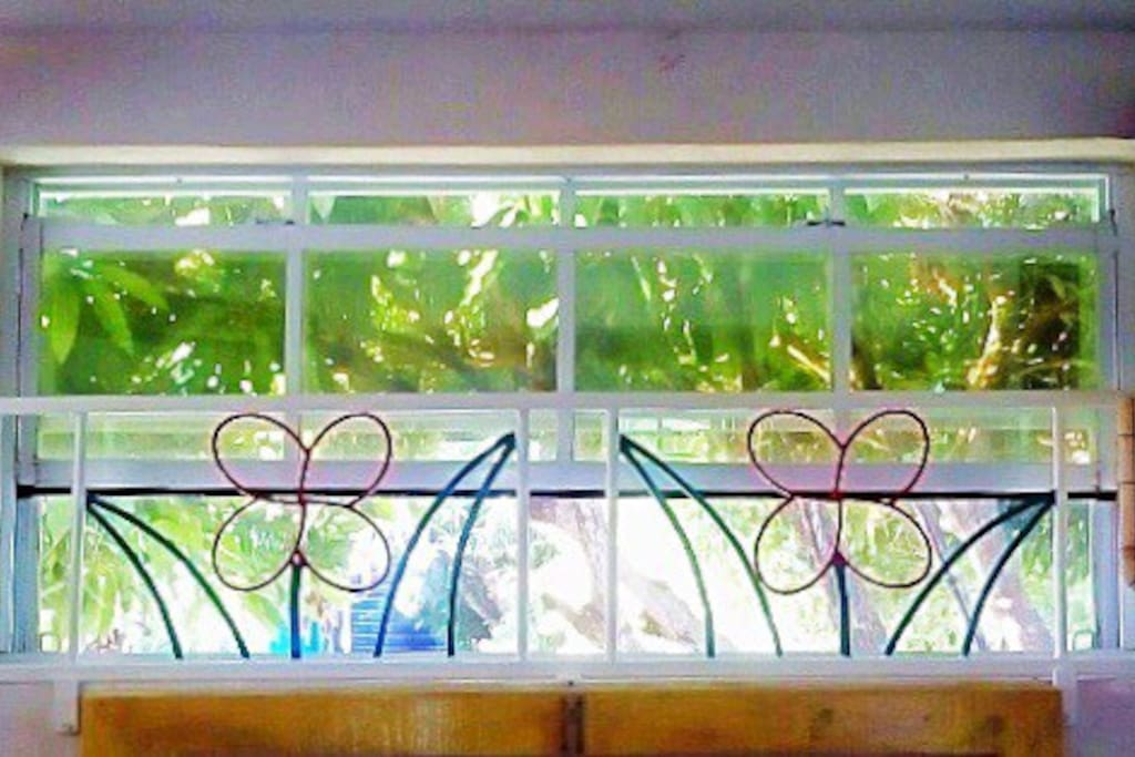 Our windows not only have a glaze to make it harder to see in yet clear to look out into the garden, but are also mesh covered to keep out insects...and while beautiful, our wrought iron flowers provide an extra touch of security for our guests.