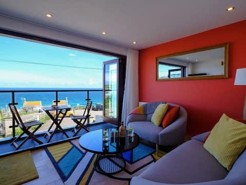 Apartamento Golden Sands com vista para o mar em St Ives