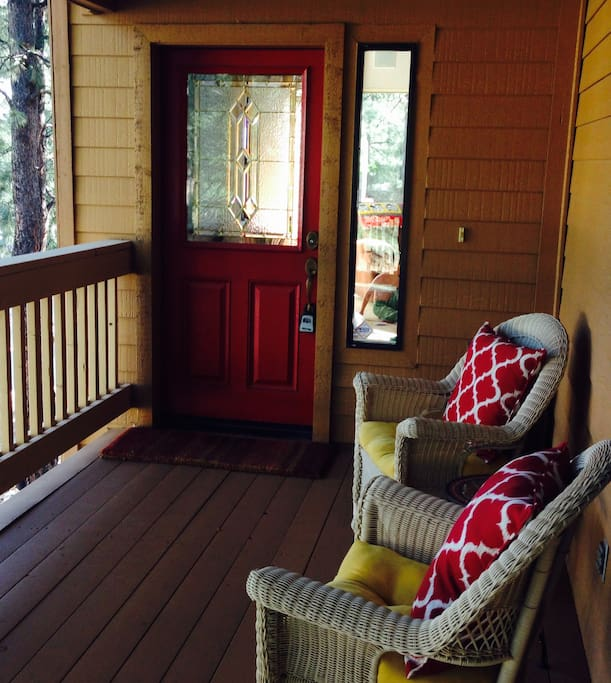 The front deck entry with spectacular view of Mt. Elden.