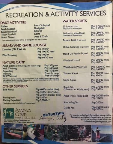 Activities at Anvaya Cove