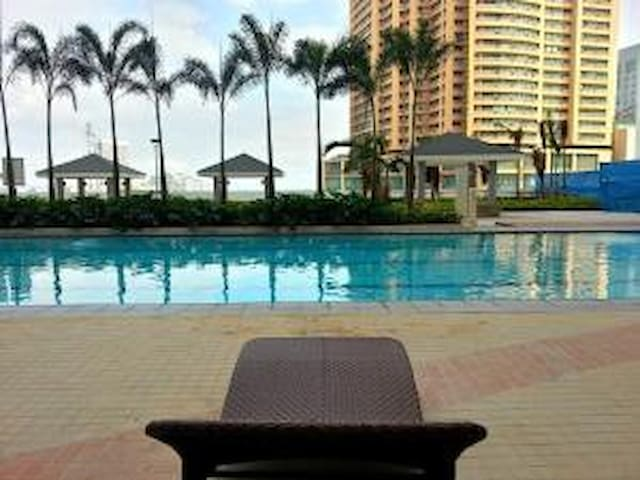 Relax and burn fat in the morning... View at the poolside.