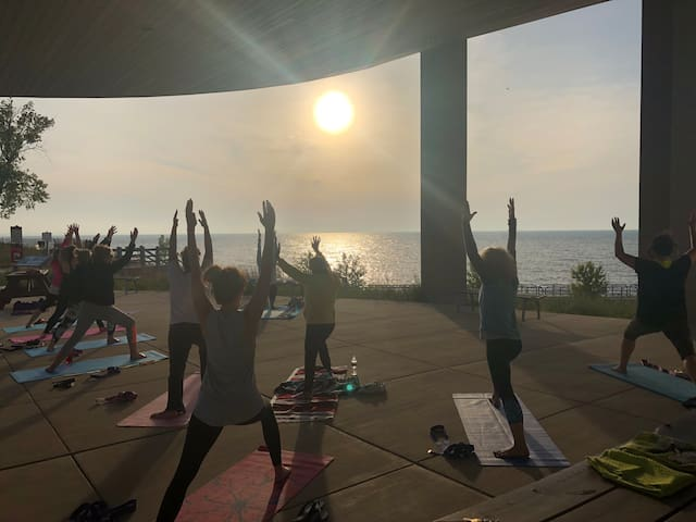Beach Yoga every Thursday in the summer at the Portage Lakefront & Riverwalk.  Guests receive a discount.