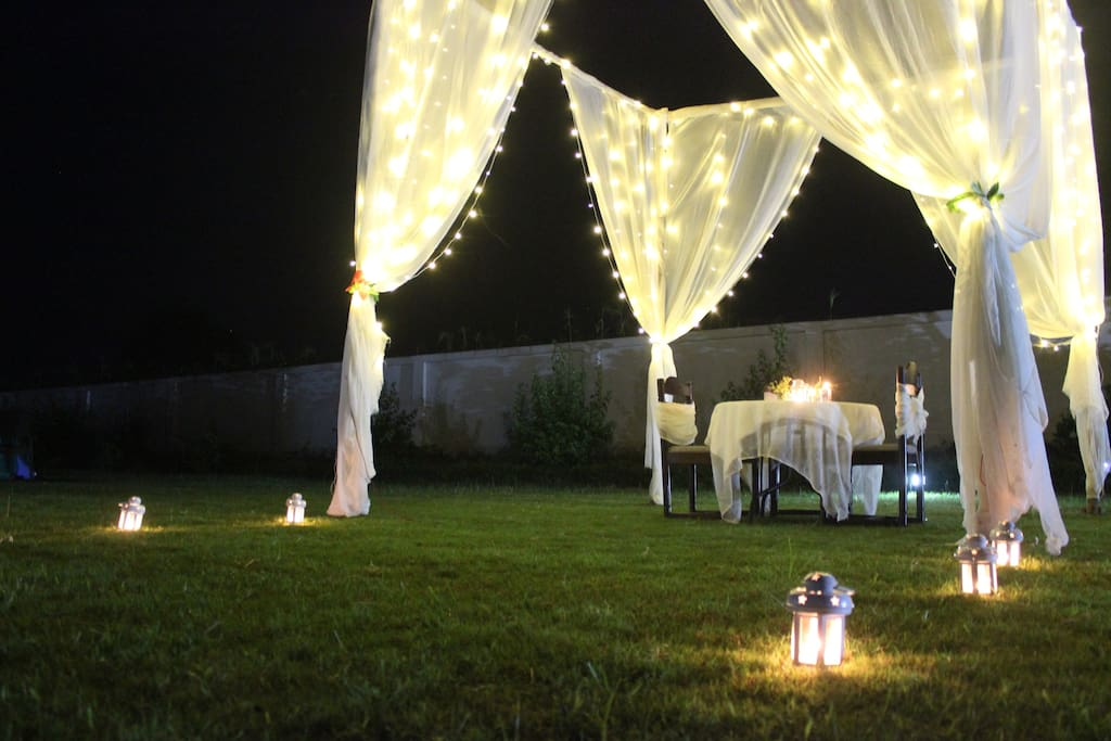 Candle light dinner setup for a guest