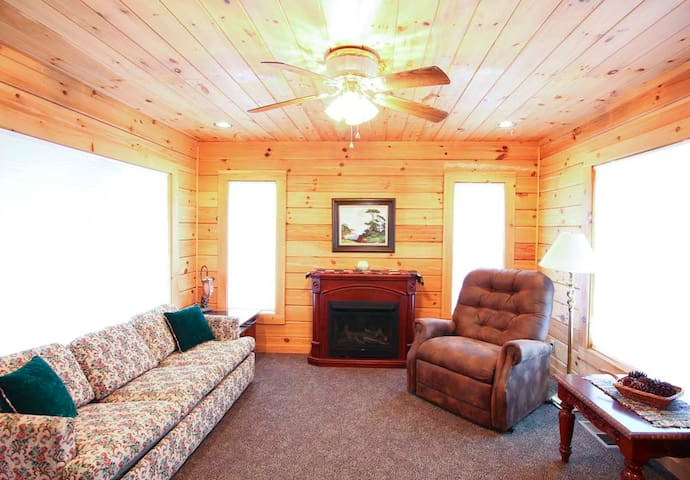 Hide-a-bed couch sleeps two Heated, Vibrating Recliner sleeps one Cozy Gas Fireplace