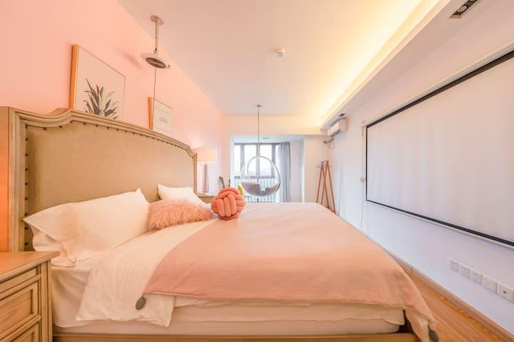 【天梦之床】三坊七巷五星级奢华美式极软投影公寓/智能马桶/宝龙万象城/福大西禅寺