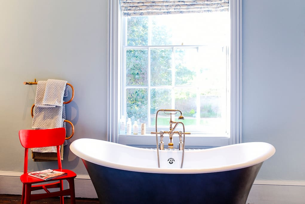 The Large Double with free standing bath over looking Shepherd House's private walled garden