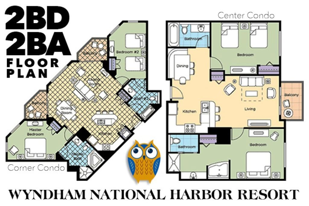Floor Plan Options of 2 Bedroom Condos at National Harbor. Please Note: Layouts and Decor Vary.