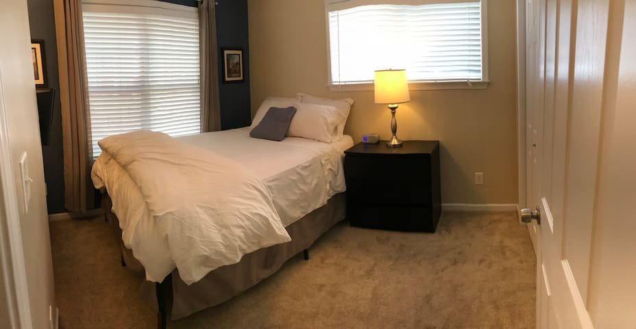 Comfy private bedroom on ground floor. Lots of good light. Closet space on right