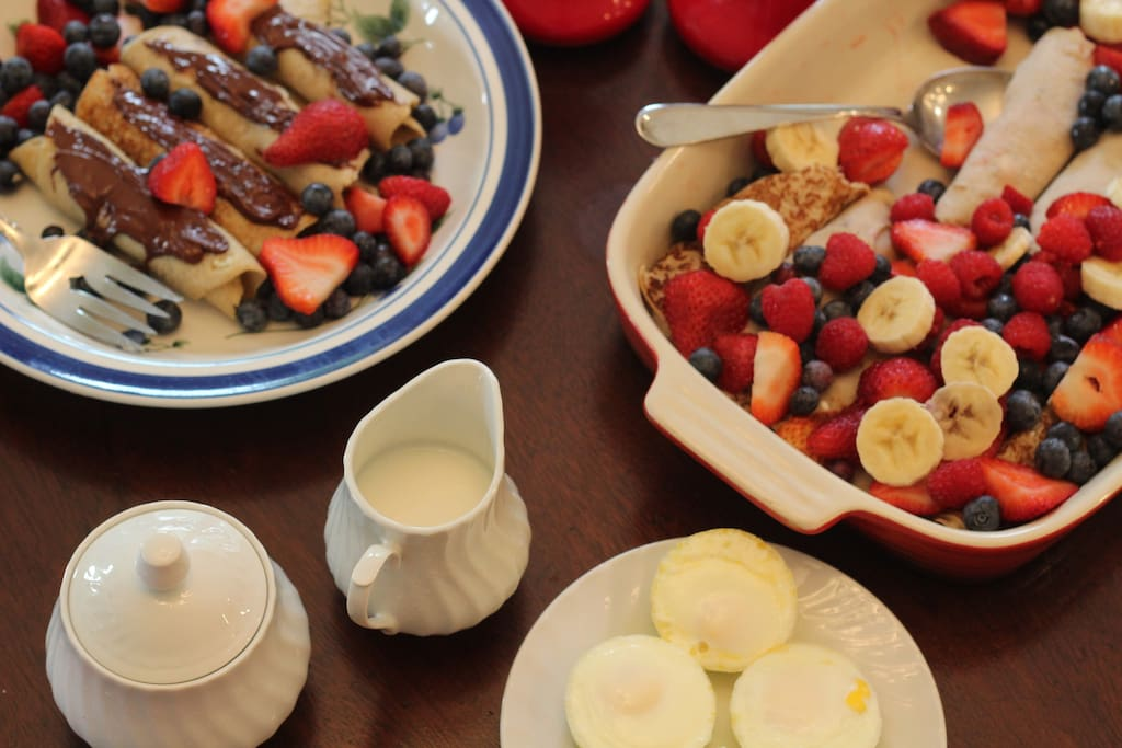 Breakfast is served daily.  All kinds of yummy treats.  Lots of Blueberry dishes are served here.