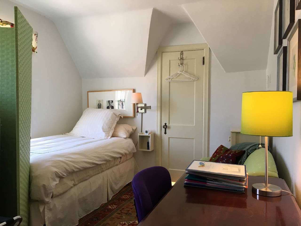 Clean, quiet, single bedroom with XL twin bed, loveseat, and desk.