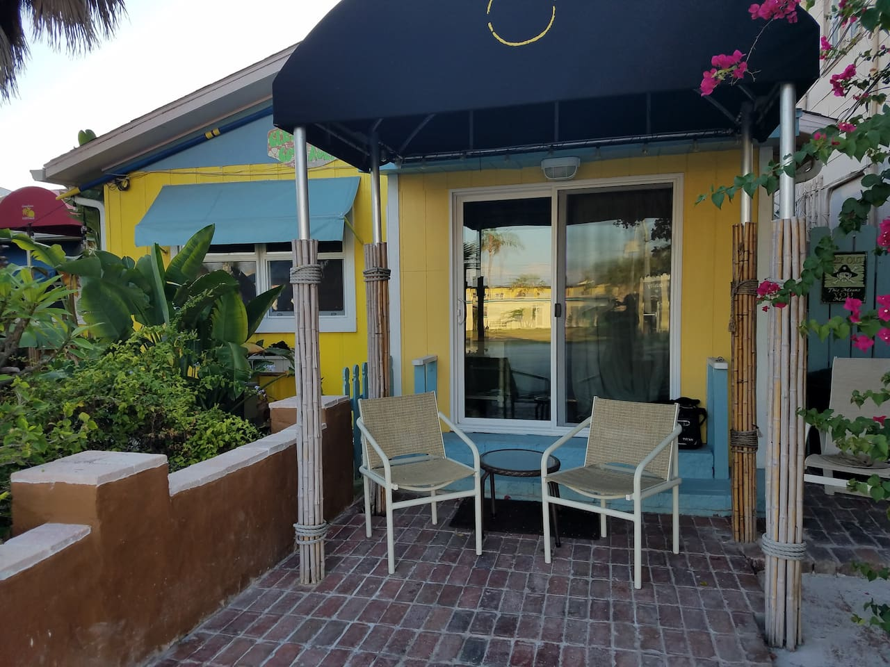 Front porch with awning