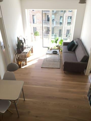 Stuen mellem de to værelser i lejligheden