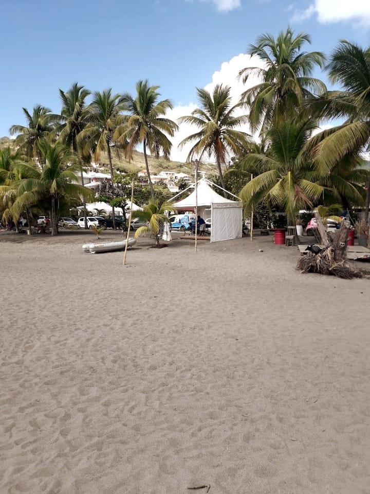 Dark sand private beach bar