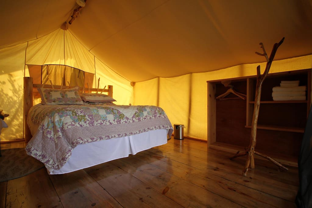 Inside one of our tents.