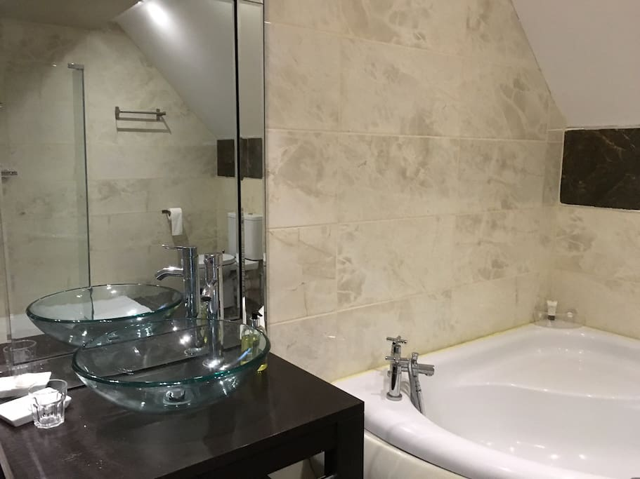 large bathroom with walk-in shower