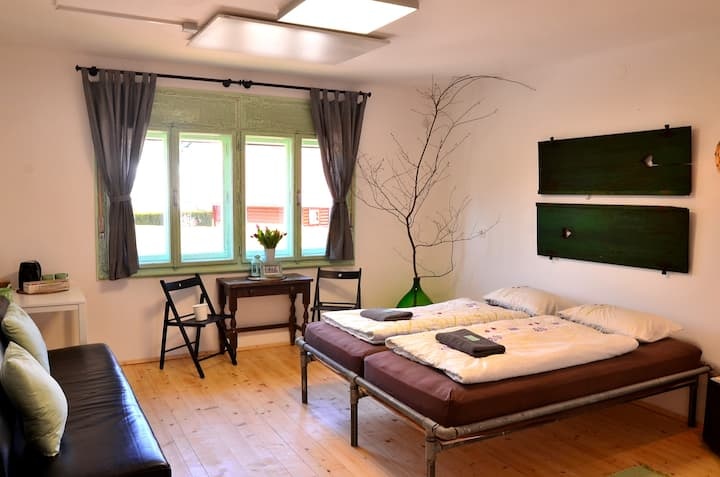 Double room with extra sofa bed and  castle view