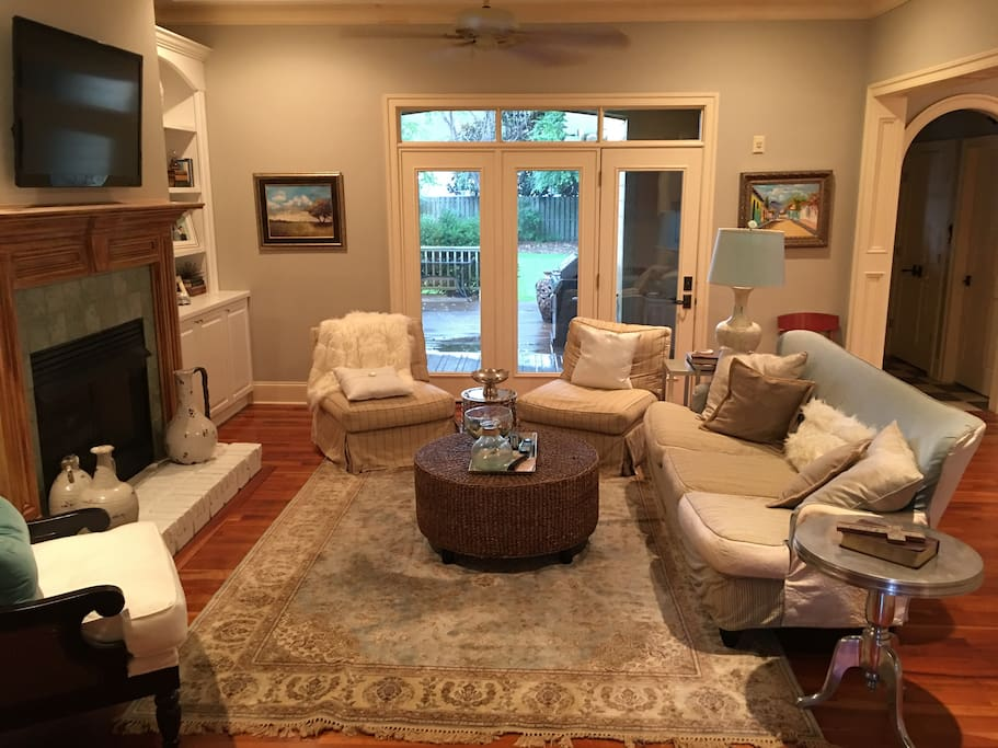 Family room attached to kitchen and right out to backyard