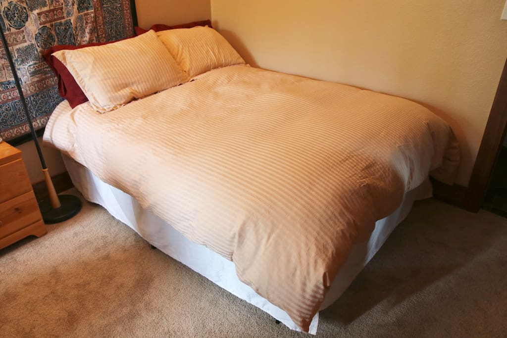 Brand new comfy full sized bed (as of Sept. 2017) made with all natural fibers (no chemical off gasing)