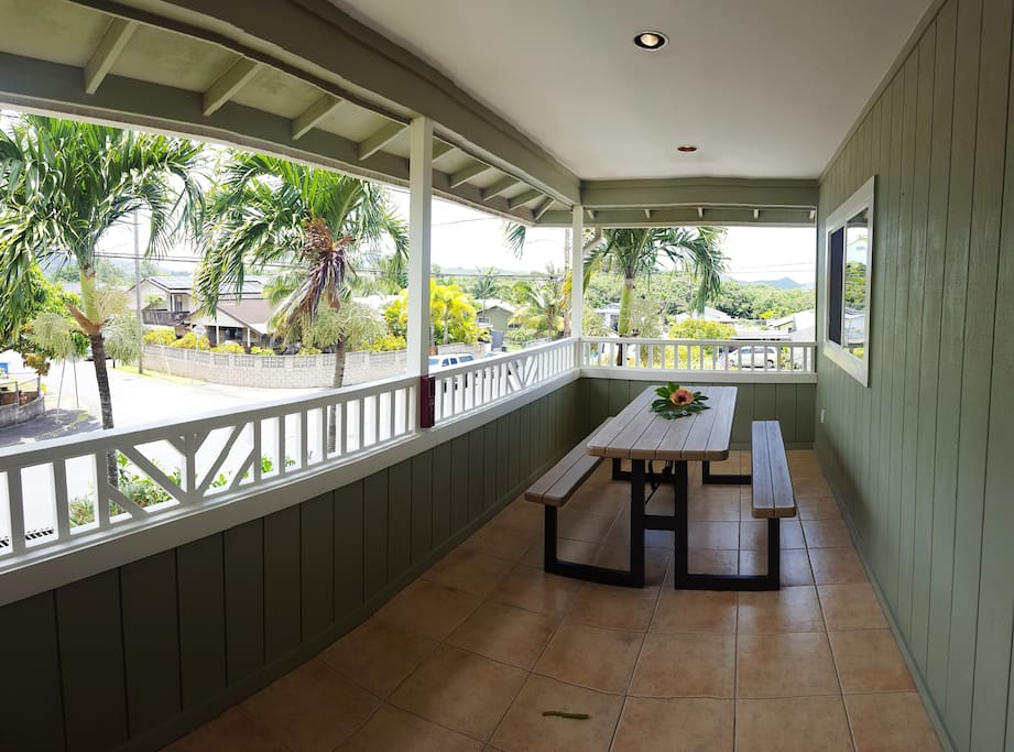 Covered Lanai is great for escaping the sun or a passing rain shower.